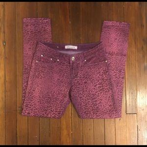 PUZZLE Purple Leopard Printed Jeans